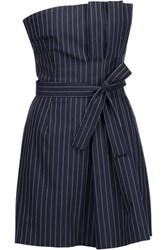 Marissa Webb Mae Pinstriped Wool Blend Mini Dress Midnight Blue