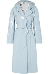 Alexachung Hooded Belted Coated Cotton Blend Raincoat Light Blue