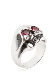 Manuel Bozzi Skull Ring With Rubies
