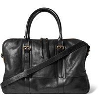 Dries Van Noten Canvas Trimmed Leather Holdall Black