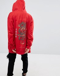 Criminal Damage Oversized Zip Up Hoodie With Dragon Back Print Red Multi Orange