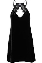 Cami Nyc Woman The Soho Open Back Lace Trimmed Velvet Mini Dress Black