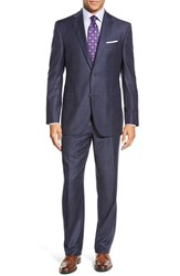 Men's Big And Tall David Donahue 'Ryan' Classic Fit Plaid Wool Suit Blue