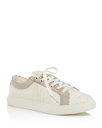 Jack Rogers Scalloped Suede And Tweed Low Top Lace Up Sneakers Ecru Dove Gray