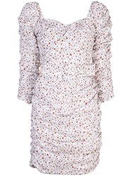 Nicholas Floral Print Fitted Dress White
