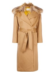 L'autre Chose Fur Collar Trench Coat Nude And Neutrals