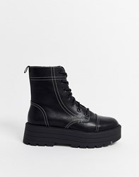 Bershka Contrast Stitch Flatform Lace Up Hiker Boots Black