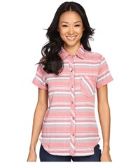 Woolrich Spring Fever S S Shirt Hot Guava Stripe Women's Short Sleeve Button Up Pink