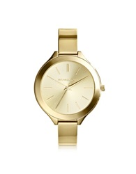 Michael Kors Mid Size Golden Stainless Steel Slim Runway Three Hand Watch