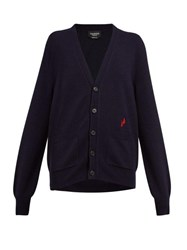 Calvin Klein 205W39nyc Embroidered Blood Drop Wool Blend Cardigan Navy Multi