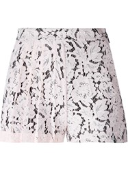 Msgm Pleated Lace Shorts Pink And Purple
