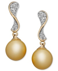 Macy's 14K Gold Earrings Cultured Golden South Sea Pearl 10Mm And Diamond 1 4 Ct. T.W. Wave Earrings Black