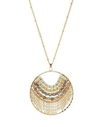 Panacea Long Beaded Circle Pendant Necklace Ivory