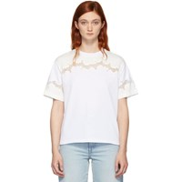 3.1 Phillip Lim White Lace Insert T Shirt