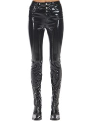 Unravel Zipped Vinyl Skinny Leg Pants Black