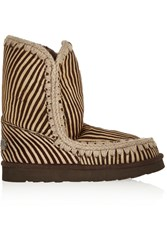 Mou Eskimo Zebra Print Calf Hair And Shearling Boots