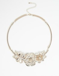 Oasis Metal Flower Statement Necklace Gold