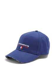 Vetements Logo Embroidered Canvas Cap Blue Multi