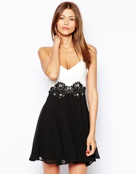 Lipsy Prom Dress With Lace Applique Waist And Pu Bodice Creamblack