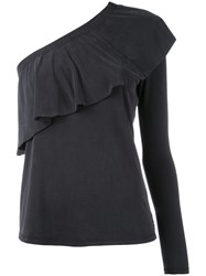 Just Female Single Sleeve Ruffled Blouse Women Polyester Modal M Black