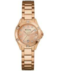 Bulova Women's Diamond Accent Rose Gold Tone Stainless Steel Bracelet Watch 27Mm 97R101