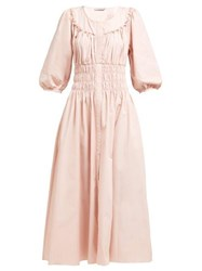 Three Graces London Arabella Striped Linen Blend Dress Pink