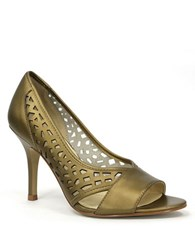 Tahari Liquorice Leather Pumps Copper Leather