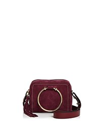 Milly Astor Suede Camera Bag 100 Exclusive Burgundy Red Gold
