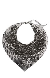 Cara Women's Metal Mesh Kerchief Necklace Hematite