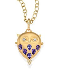 Temple St. Clair Tanzanite Diamond And 18K Yellow Gold Owl Locket Gold Tanzanite