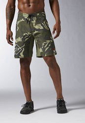 Reebok Crossfit Super Nasty Tactical Camo Sports Shorts Canopy Green