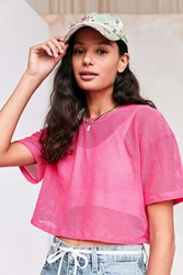 Truly Madly Deeply Cropped Mesh Tee Pink