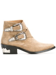 Toga Double Buckle Boots Nude Neutrals