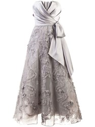 Marchesa Notte Strapless Bow Gown Grey