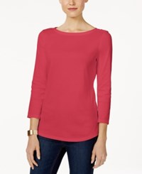 Charter Club Boat Neck Shoulder Button Top Only At Macy's Crushed Coral