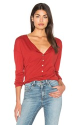 Michael Stars Long Sleeve Raw Henley Top Rust