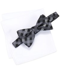Alfani Men's Mars Gingham Bow Tie And Solid Pocket Square Set Only At Macy's Black