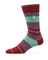 Penguin Gladstone Combed Cotton Striped Socks Green