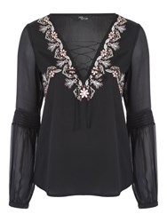 Jane Norman Satin Embroidered Blouse Black