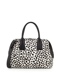 Charles Jourdan Dacey Spotted Print Calf Hair Satchel Black White