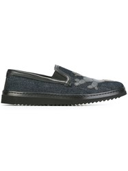 Dolce And Gabbana Cactus Patch Denim Slip On Sneakers Blue