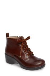 Alegria Eliza Water Resistant Bootie Chestnut Luster Leather