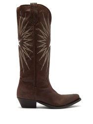 Golden Goose Wish Star Embroidered Leather Boots Dark Brown