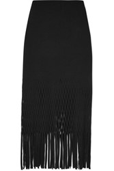 Dion Lee Fringed Cutout Jersey Midi Skirt Black
