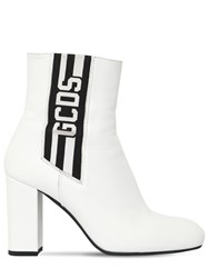 Gcds 90Mm Stripe Leather Ankle Boots White