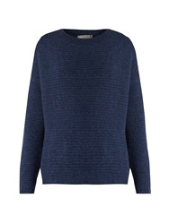 Vince Wool And Cashmere Blend Boucle Knit Sweater Mid Blue