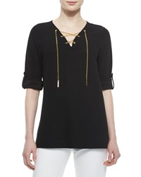 Joan Vass Cotton Pique Lace Up Tunic Black