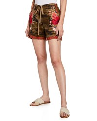 Johnny Was Burken Linen Shorts W Floral Embroidery Plus Size Green Pattern