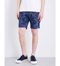 Tommy Hilfiger Brooklyn Flower Pattern Classic Fit Cotton Shorts Medieval Blue