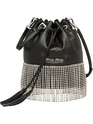 Miu Miu Leather Bucket Bag With Crystals Black
